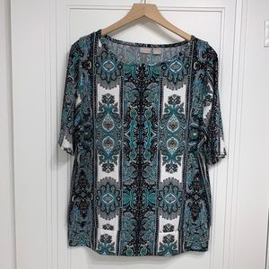 Chicos Travelers Congo Green Print Top